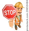3D Construction worker with a stop signal 20650484