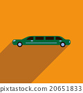 Flat web icon with long shadow limousine 20651833