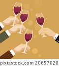 Hands clinking wine glasses  20657020