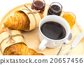 Breakfast set, tray of coffee, croissant, jams. 20657456