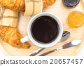 Breakfast set, tray of coffee, croissant, jams. 20657457