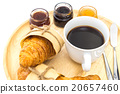 Breakfast set, tray of coffee, croissant, jams. 20657460