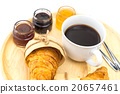 Breakfast set, tray of coffee, croissant, jams. 20657461