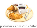 Breakfast set, tray of coffee, croissant, jams. 20657462