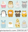 Set of kids in cute animal costumes 2 20658167