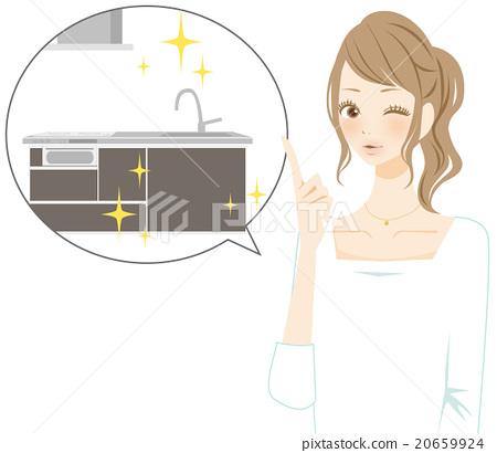 厨房 女生 女孩 20659924