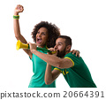 Brazilian couple of fans celebrate on white 20664391