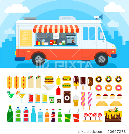 Stock Illustration: Food truck with snacks and confectionery