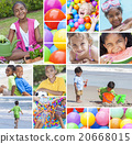 Montage Interracial Active Young Children Playing 20668015