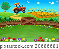 Funny landscape with tractor and cornfield. 20686681