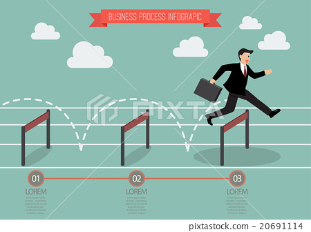 Businessman jumping over hurdle infographic 20691114
