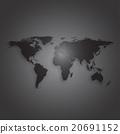 Black world map on dark background, textured 20691152