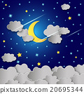Moon and stars in the clouds. 20695344