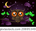 Owl and moon, nocturnal sky. 20695349