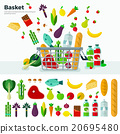 Basket with Vegetables Banner and Icon Set  20695480
