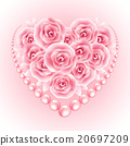 Pink roses, pearl and heart shap frame. Vector 20697209
