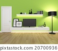 green living room with tv stand and bookcase  20700936