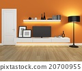 orange living room with tv stand and bookcase  20700955