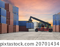 forklift handling the container box in logistic 20701434