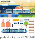 Tram on the street in city 20706348