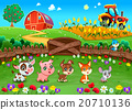 Funny landscape with farm animals 20710136