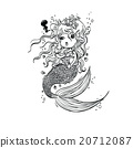 Doodle Mermaid Under the Sea Cartoon Character 20712087