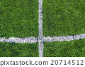 White line on the green soccer field 20714512