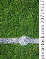 White line on the green soccer field 20714517
