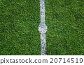 White line on the green soccer field 20714519