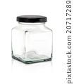 Clear cubic glass bottle with black aluminium cap 20717289