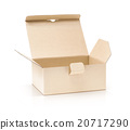 cardboard kraft box open and isolated on white 20717290