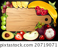 Vector wooden cutting board with fruits.  20719071