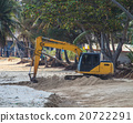 backhoe working on beach 20722291