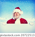 Santa Claus Holding a Blank Sign Snowing Concept 20722513