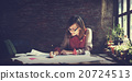 Architecture Woman Working Blue Print Workspace Concept 20724513