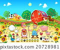 Funny farm scene with animals and farmers 20728981