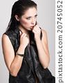 Brunette woman wearing black leather jacket and panties 20745052