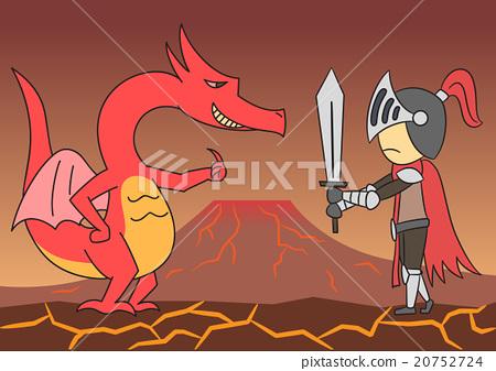 vector cartoon character dragon knight fighting 20752724