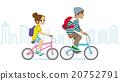 騎自行車城市背景的夫婦 20752791