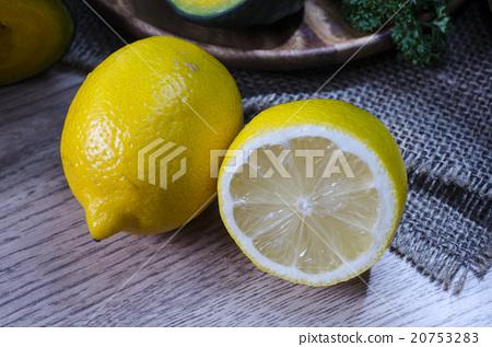 Lemons  On a wooden board. 20753283