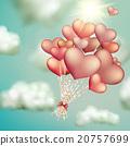 Retro love balloons on blue sky. EPS 10 20757699