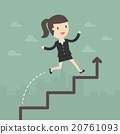 Business Woman run on a Business Growth Chart 20761093