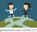 two business women running together on globe 20761112