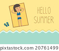 happy woman sunbathing on a beach 20761499