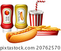 Hotdog and fries with two kind of sauces 20762570