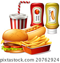 Fastfood meal with two kind of sauces 20762924