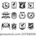 Birds Emblems Black Icons Collection  20768006