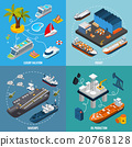 Ships Boats 4 Isometric Icons Square  20768128