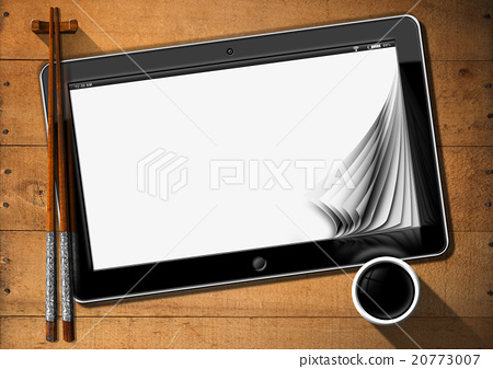 Asian Food - Tablet Pc and Chopsticks 20773007