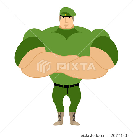 Marine in green beret. Special forces strong man 20774435